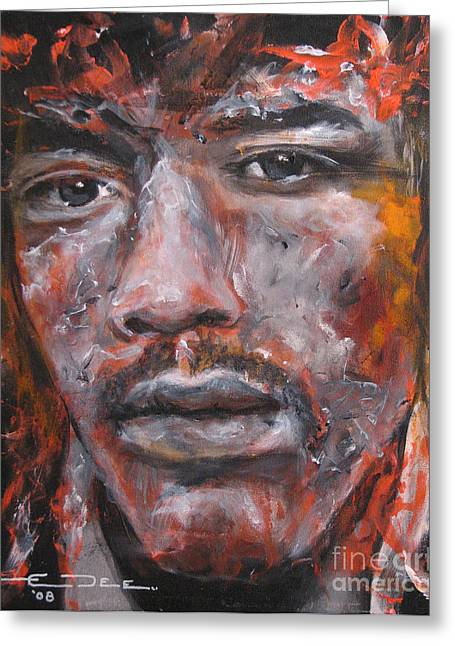 The Beatles. Celebrity Portraits Greeting Cards - Jimi Hendrix Manic Depression Greeting Card by Eric Dee