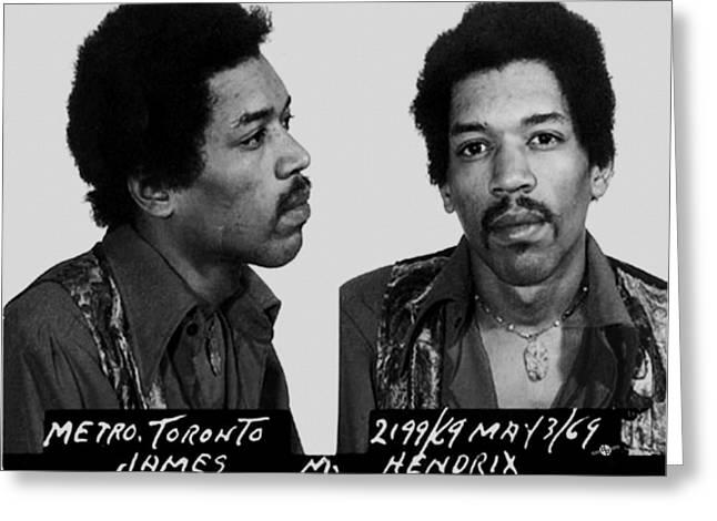 Johnny Allen Hendrix Greeting Cards - Jimi Hendrix Mug Shot Horizontal Greeting Card by Tony Rubino
