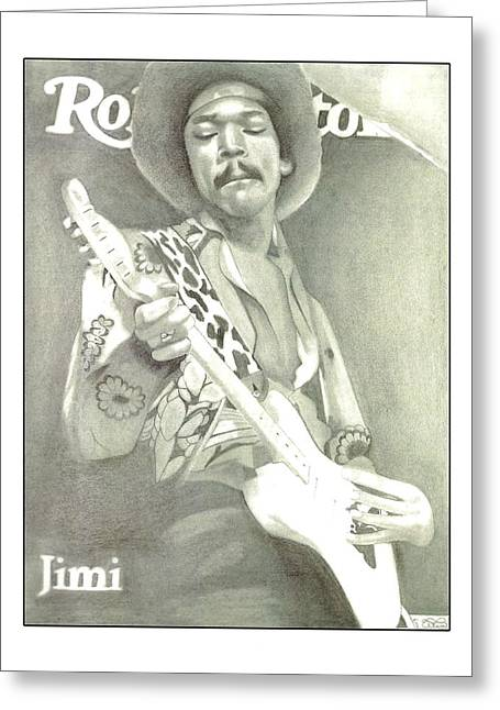 Player Drawings Greeting Cards - Jimi Hendrix on Magazine Cover Greeting Card by Ellen Norden