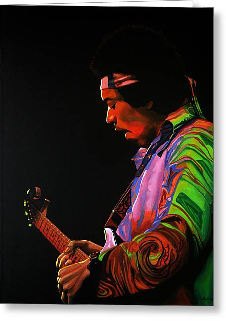 Jimi Hendrix Painting 4 Greeting Card by Paul Meijering