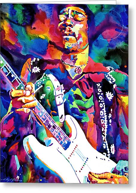 Rock Paintings Greeting Cards - Jimi Hendrix Purple Greeting Card by David Lloyd Glover