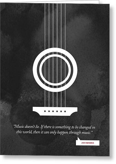 Jimi Hendrix Quote - Music Doesnt Lie .... Greeting Card by Aged Pixel