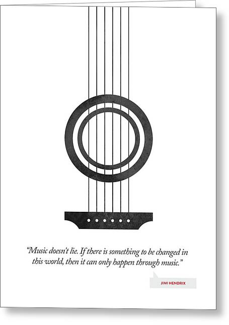 Jimi Hendrix Quote - Music Doesnt Lie ....02 Greeting Card by Aged Pixel