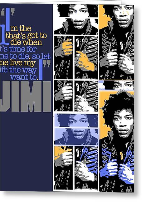 1960 Greeting Cards - Jimi Hendrix Tribute Greeting Card by Michael Lax
