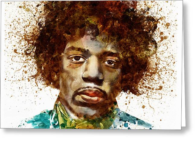 African-americans Greeting Cards - Jimi Hendrix watercolor portrait Greeting Card by Marian Voicu