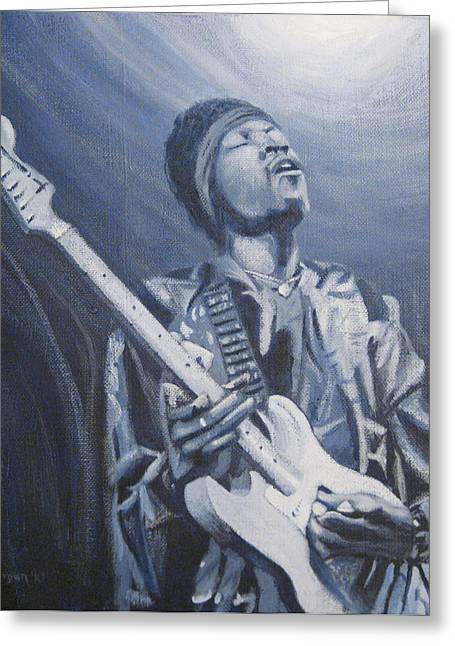 Jimi In The Bluelight Greeting Card by Michael Morgan