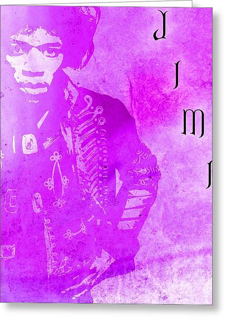 Rock N Roll Mixed Media Greeting Cards - Jimi Purple Haze Greeting Card by Dan Sproul