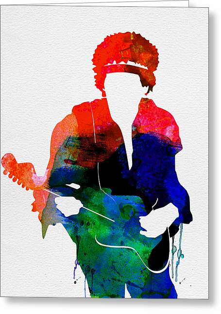 Electric Guitar Greeting Cards - Jimi Watercolor Greeting Card by Naxart Studio