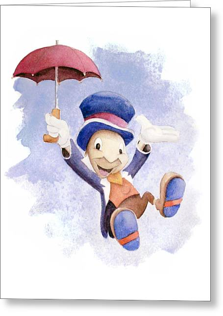 Cricket Paintings Greeting Cards - Jiminy Cricket with Umbrella Greeting Card by Andrew Fling