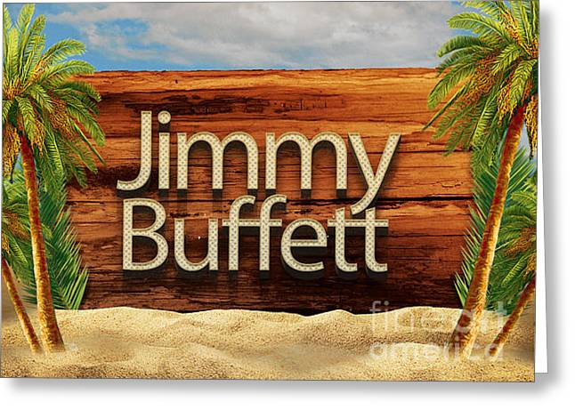 Jimmy Buffett Tee Greeting Card by Edward Fielding