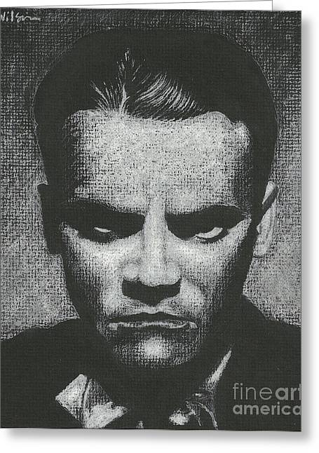 Film Noir Drawings Greeting Cards - Jimmy Cagney - Enemy of the People Greeting Card by Andrew Wilson