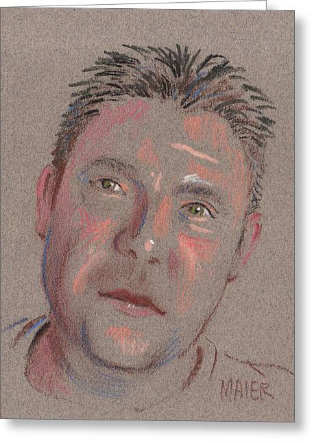 Pastel Portrait Greeting Cards - Jimmy Greeting Card by Donald Maier