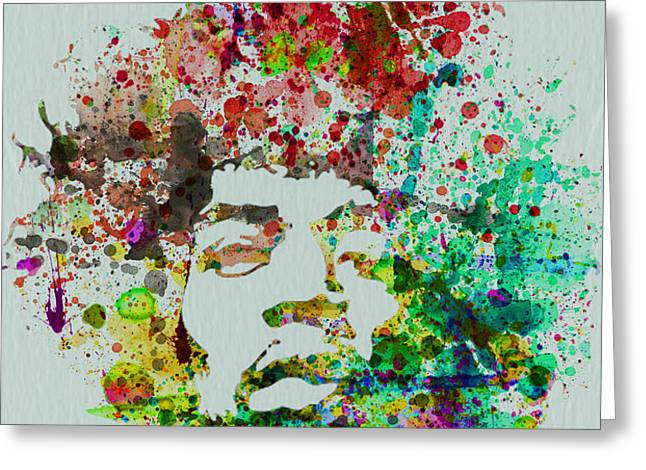 Jimmy Hendrix watercolor Greeting Card by Naxart Studio