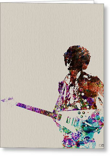 Rock And Roll Paintings Greeting Cards - Jimmy Hendrix with guitar Greeting Card by Naxart Studio