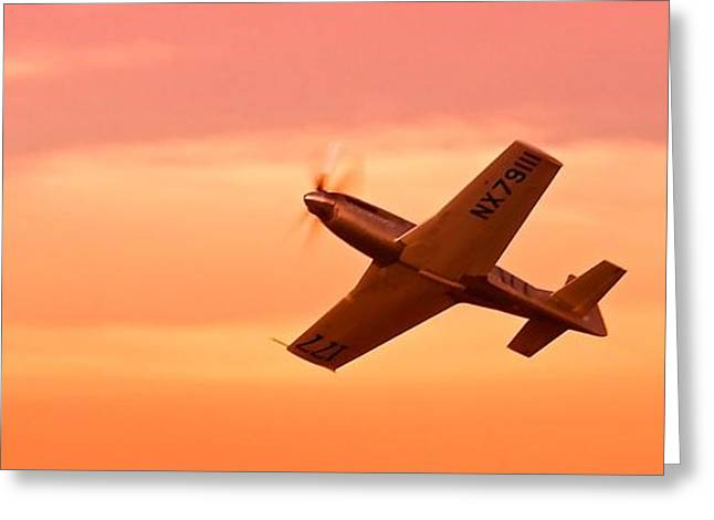 Reno Air Races Greeting Cards - Jimmy Leeward and The Galloping Ghost Into the Sunset Greeting Card by Gus McCrea