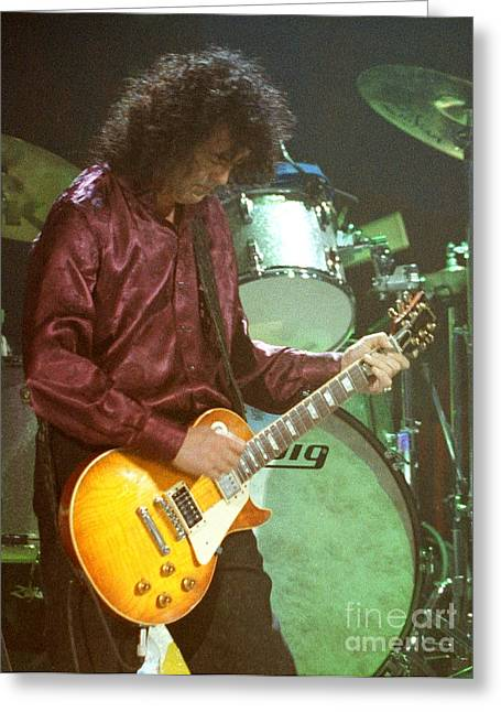 Robert Plant Performance Art Greeting Cards - Jimmy Page-0002 Greeting Card by Timothy Bischoff
