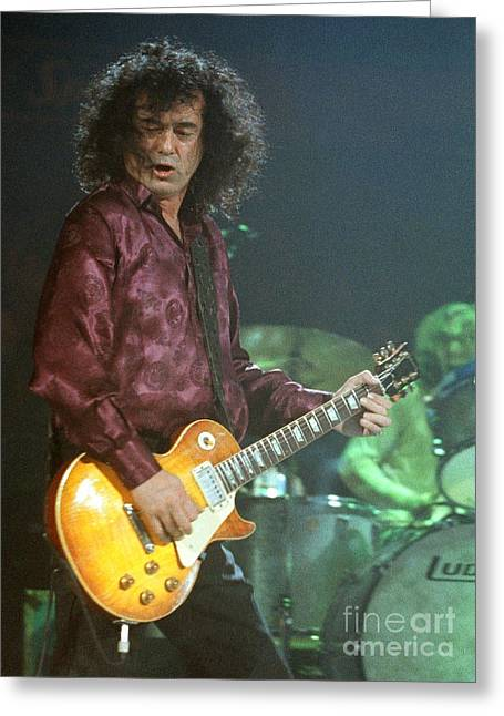 Robert Plant Performance Art Greeting Cards - Jimmy Page-0005 Greeting Card by Timothy Bischoff