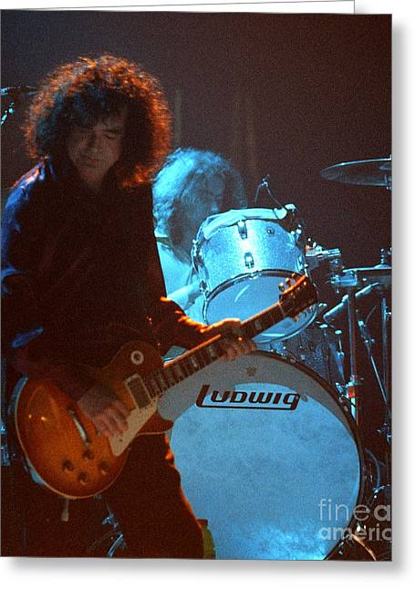 Robert Plant Performance Art Greeting Cards - Jimmy Page-0010 Greeting Card by Timothy Bischoff