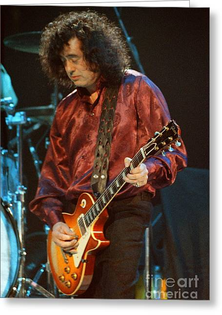 Robert Plant Performance Art Greeting Cards - Jimmy Page-0020 Greeting Card by Timothy Bischoff