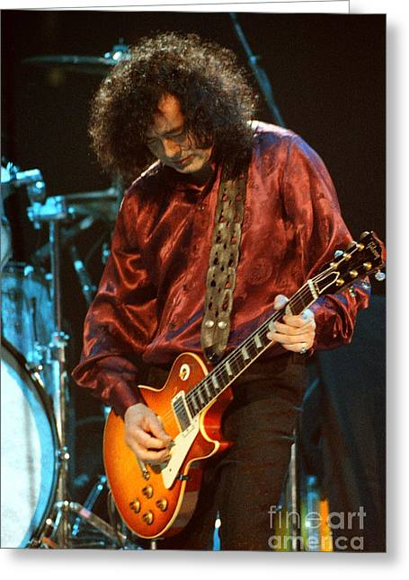 Robert Plant Performance Art Greeting Cards - Jimmy Page-0021 Greeting Card by Timothy Bischoff