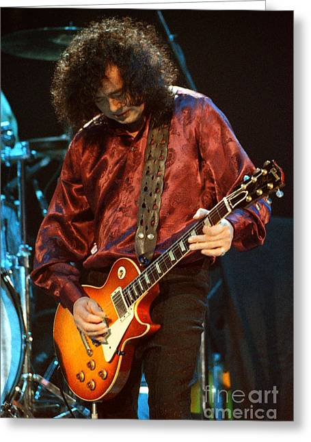 Robert Plant Performance Art Greeting Cards - Jimmy Page-0022 Greeting Card by Timothy Bischoff