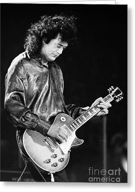 Robert Plant Performance Art Greeting Cards - Jimmy Page-0023 Greeting Card by Timothy Bischoff