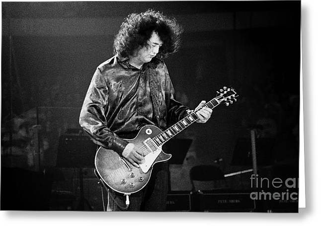 Robert Plant Performance Art Greeting Cards - Jimmy Page-0028 Greeting Card by Timothy Bischoff
