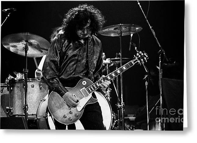 Robert Plant Performance Art Greeting Cards - Jimmy Page-0047 Greeting Card by Timothy Bischoff