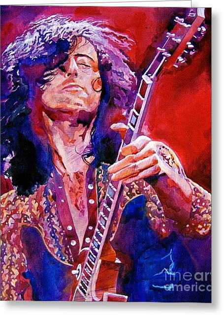 Musicians Paintings Greeting Cards - Jimmy Page Greeting Card by David Lloyd Glover