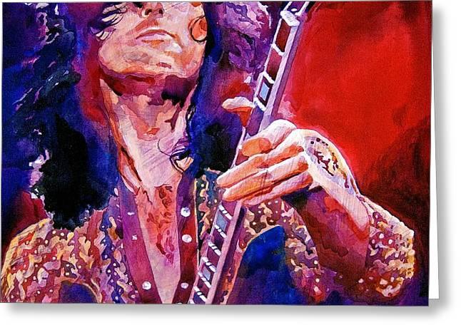 Jimmy Page Greeting Card by David Lloyd Glover