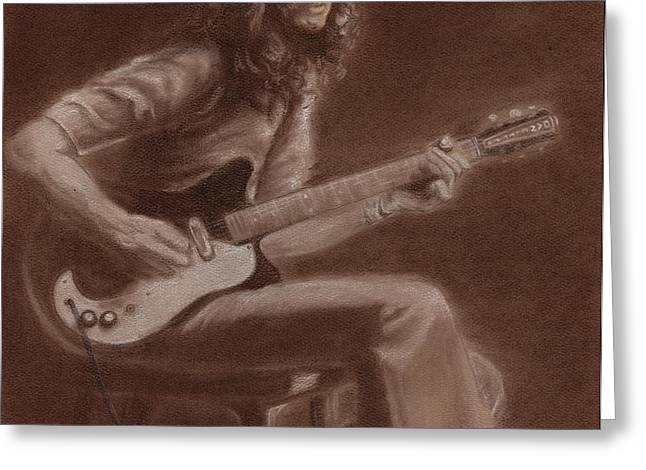 Jimmy Page Greeting Card by Kathleen Kelly Thompson