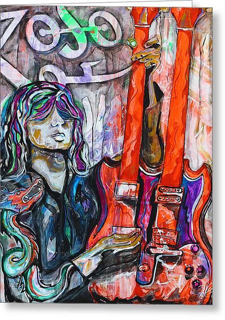 Jimmy Page - Original Art - Gibson Eds-1275 Double Neck, Zoso,  Greeting Card by Paco Rocha