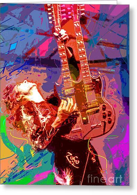 Neck Greeting Cards - Jimmy Page Stairway To Heaven Greeting Card by David Lloyd Glover