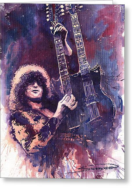 Jimmy Page  Greeting Card by Yuriy  Shevchuk