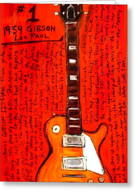 Jimmy Page Paintings Greeting Cards - Jimmy Pages Les Paul Number1 Greeting Card by Karl Haglund