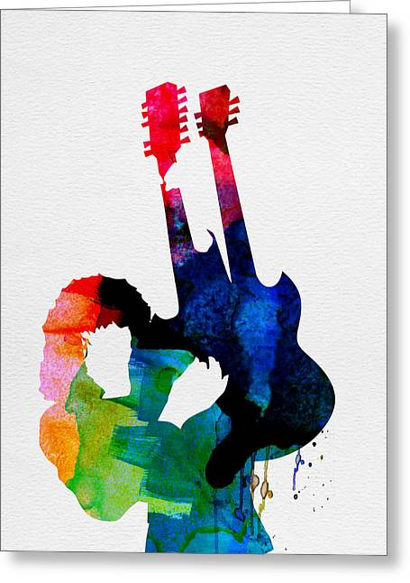 Rock Star Prints Greeting Cards - Jimmy Watercolor Greeting Card by Naxart Studio