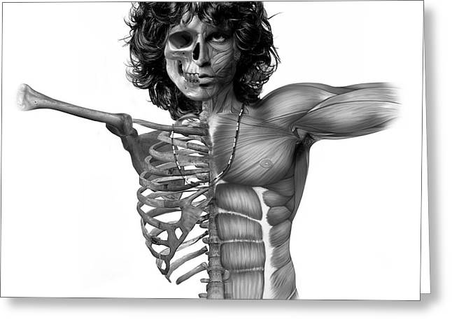 60s Music Greeting Cards - Jims Anatomy Greeting Card by Marian Voicu