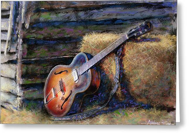 Outdoors Mixed Media Greeting Cards - Jims Guitar Greeting Card by Andrew King