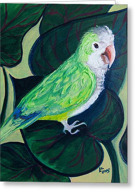 Quaker Parrot Greeting Cards - Jingles the Parrot Greeting Card by Lisa LoCurto