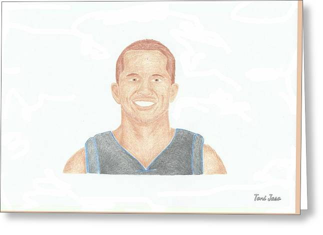 Slam Drawings Greeting Cards - JJ Barea  Greeting Card by Toni Jaso