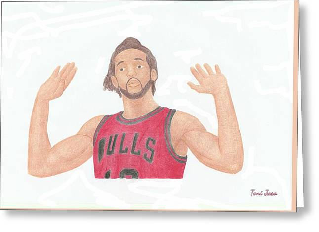 Slam Drawings Greeting Cards - Joakim Noah Greeting Card by Toni Jaso