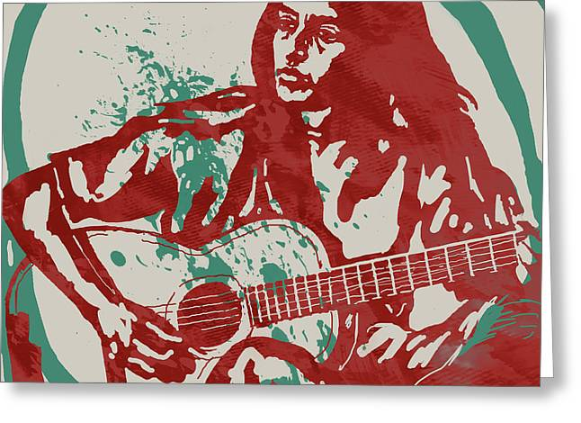Strumming Greeting Cards - Joan Baez strumming Pop Stylised Art Sketch Poster Greeting Card by Kim Wang