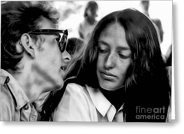 Bob Dylan Greeting Cards - Joan Baez with Bob Dylan Greeting Card by Marvin Blaine