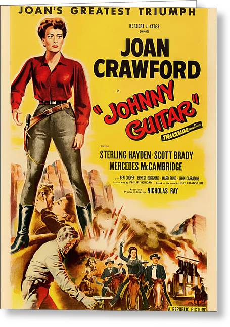 1950s Movies Greeting Cards - Joan Crawford in Johnny Guitar 1954 Greeting Card by Mountain Dreams