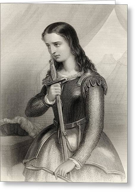 Catholic Drawings Greeting Cards - Joan Of Arc, 1412-1431 Aka Jeanne D Arc Greeting Card by Ken Welsh