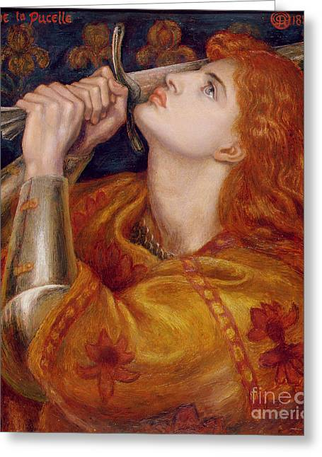 Profile Portrait Greeting Cards - Joan of Arc Greeting Card by Dante Charles Gabriel Rossetti