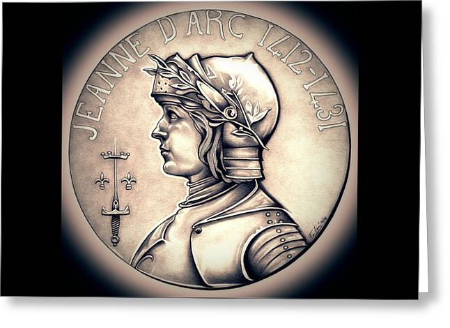 Silver Coins Greeting Cards - Joan of Arc - Halo Greeting Card by Fred Larucci