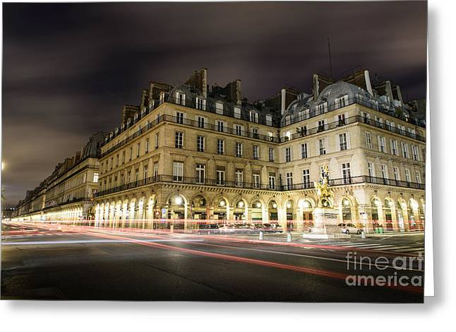 Night Lamp Greeting Cards - Joan of Arc statue Paris Greeting Card by World Art Photography
