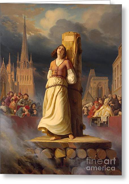 Joan Of Arc's Death At The Stake Greeting Card by Hermann Anton Stilke