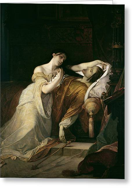 Sadness Paintings Greeting Cards - Joanna the Mad with Philip I the Handsome Greeting Card by Louis Gallait